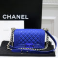 "AUTHENTIC CHANEL LIMITED EDITION PATENT LEATHER ""BOY"" BLUE BAG MINT CONDITION"