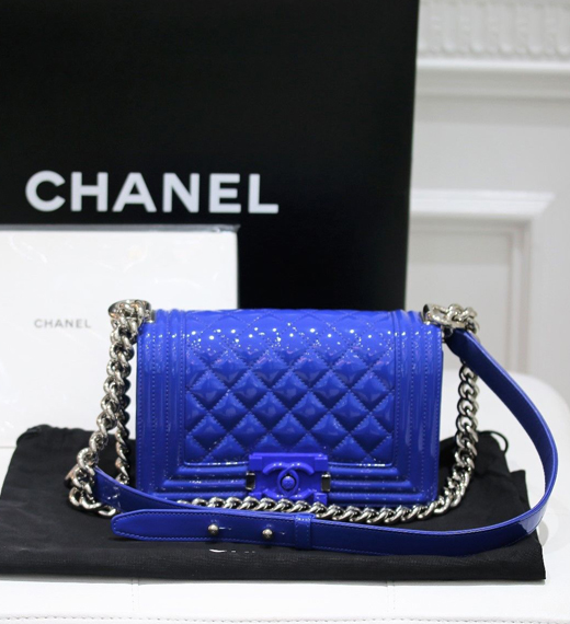 "3f248718476e AUTHENTIC CHANEL LIMITED EDITION PATENT LEATHER ""BOY"" BLUE BAG MINT  CONDITION – WATCH EXPO"