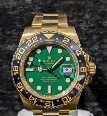 rolex-master ii gold green dial