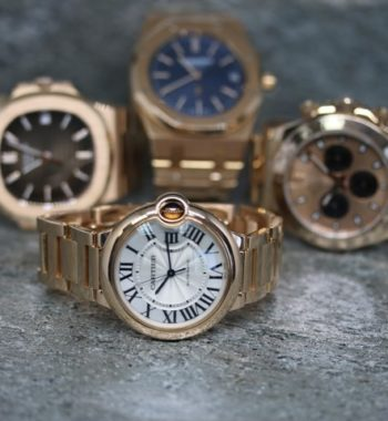 Cartier Patek AP and Rolex Rose gold watches